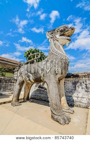 Singha Statue At Wat Prathat Lampang Luang Temple, Lampang, Thailand