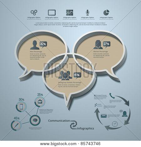 Communication Infographic Background Elements And Symbols