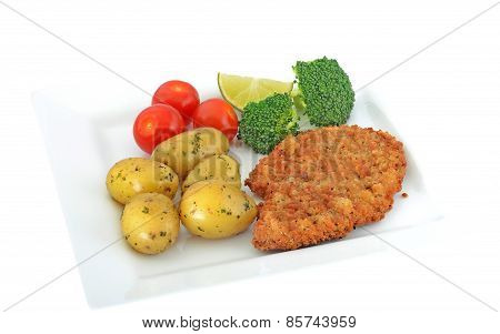 Turkey escalope meal isolated