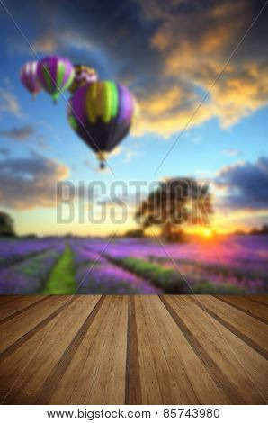 Hot Air Balloons Flying Over Lavender Landscape Sunset With Wooden Planks Floor