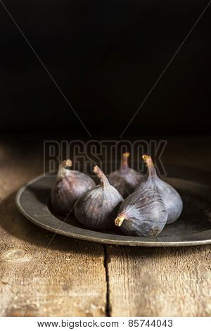 Fresh Figs In Moody Natural Lighting Set With Vintage Retro Style