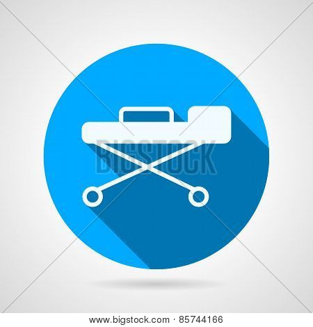 Flat round vector icon for stretcher