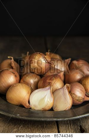 Moody Natural Lighting Vintage Retro Style Image Of Fresh Shallots