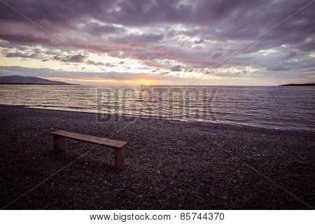 Empty Bench On Beach At Sunset, Marsala Toned