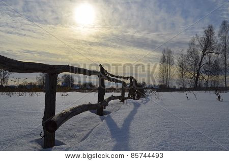In rural fence outback in Russia
