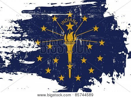 Scratched Indiana Flag. A flag of Indiana with a grunge texture