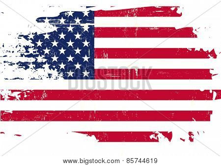 Scratched US Flag. An american flag with a grunge texture