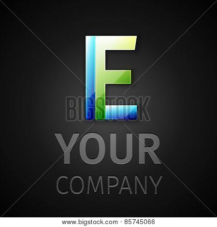 abstract vector logo letter E