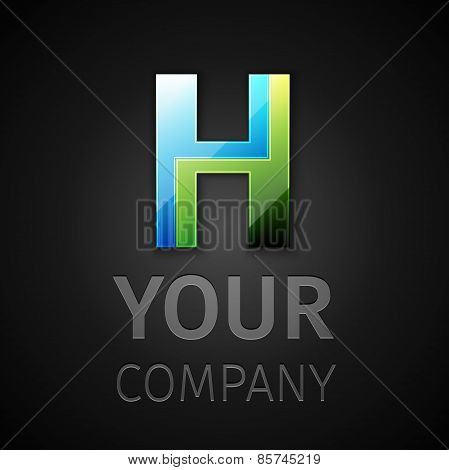 abstract vector logo letter H
