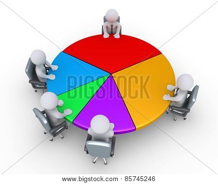 Businessmen Around Pie Chart