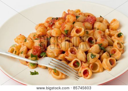 Gomiti elbow pasta shells tossed in arrabbiata tomato, garlic and chili sauce and served with chopped parsley