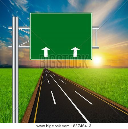 Blank Green Road Sign Concept On Soft Natural Landscape Background.