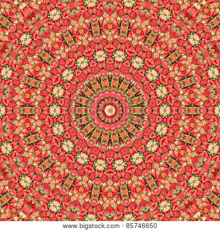 Abstract Fresh Ripe Red Strawberries Pattern Background.