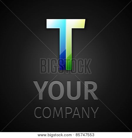 abstract vector logo letter T