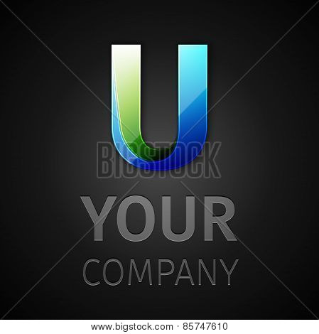 abstract vector logo letter U