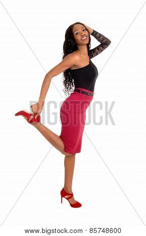 Black Woman Dancing On Floor.