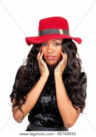 Black Woman With Red Hat.