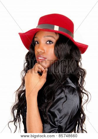 Closeup Of Black Woman With Red Hat.