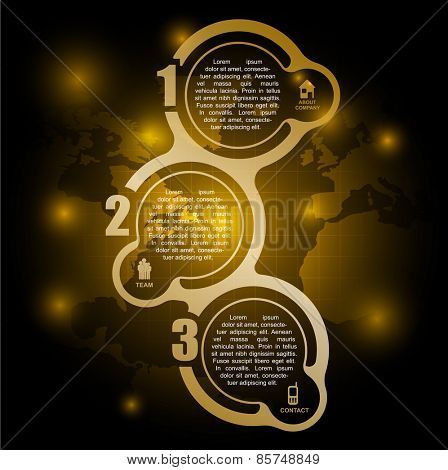 Yellow vector background with business infographics about the company in three steps with icons and numbers. Can be used for brochure, poster or flyer