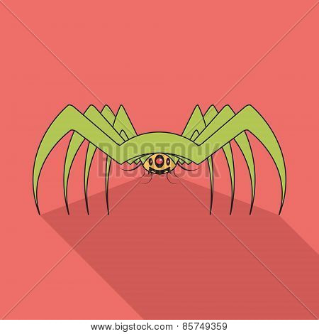 Spider Flat Icon With Long Shadow