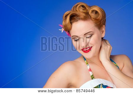 Retro  Styled Woman With Fifties Hair And Makeup