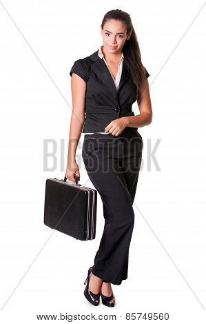 young business lady standing with briefcase isolated on white