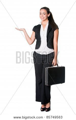 young business lady standing with briefcase gestures