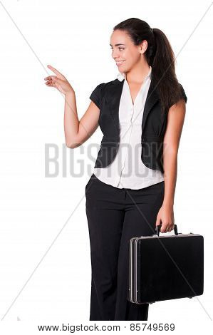 young business lady standing with briefcase pointing