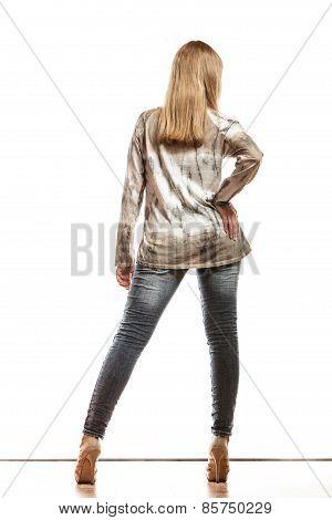 Blonde Girl In Bright Tshirt Rear View