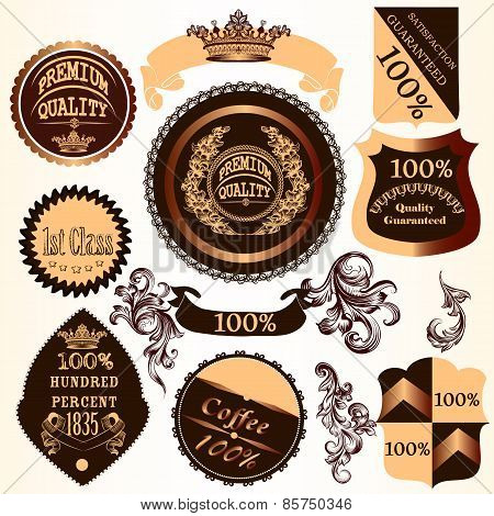 Collection Of Vector Decorative Badges And Labels With Swirls