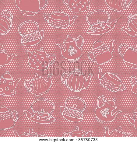 Seamless monochrome pattern with cute freehand teapots