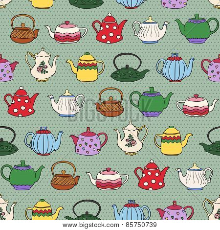 Seamless pattern with cute freehand teapots.
