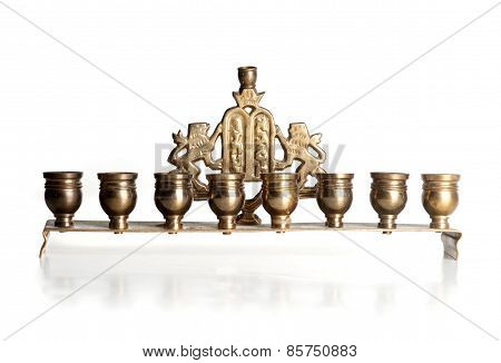 Candlestick With Nine Arms Isolated On White
