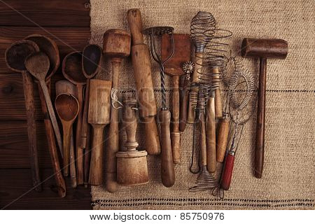 real vintage kitchen utensils on old grain sacking linen Completely hand made  handwoven and homespun