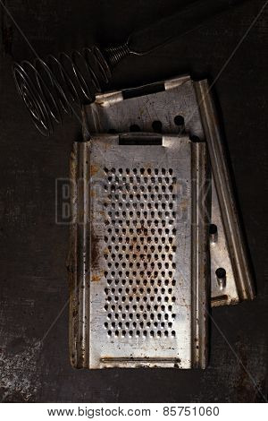 Vintage  Baking Tin cutters on metal backdrop , tiny focus