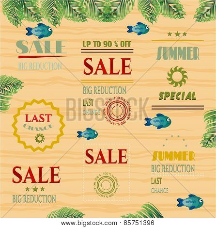 Set, collection of colorful, summer, retro labels, blue fishes, wooden background with palm leaves