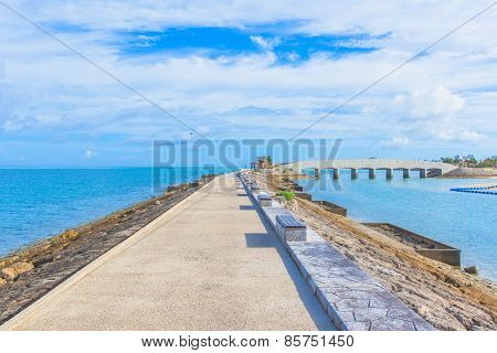Breakwater with benches