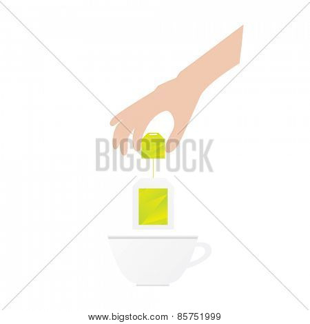 Humans hand is holding tea bag Vector illustration