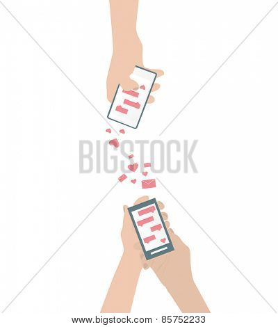 Human hand is sending love messages using cellphone wireless communications Isolated vector illustration