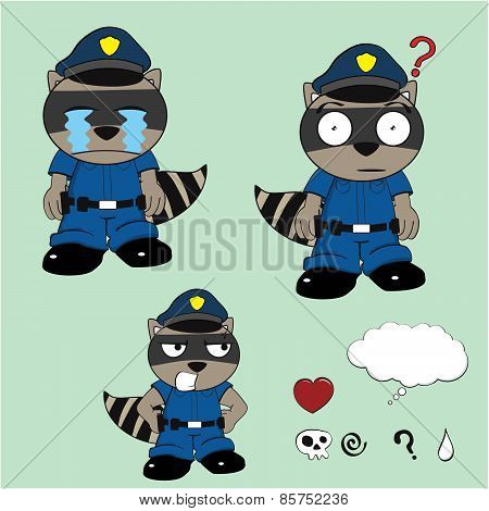 raccoon policeman crying cartoon set