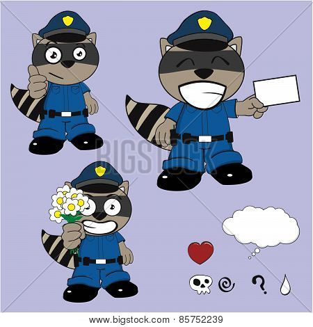 raccoon policeman card cartoon set