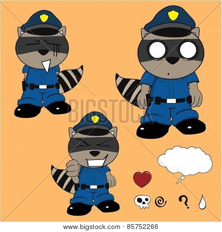 raccoon policeman cartoon set