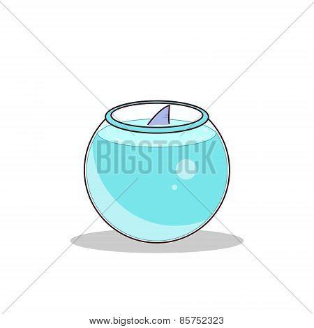 Isolated cartoon cute little shark tank