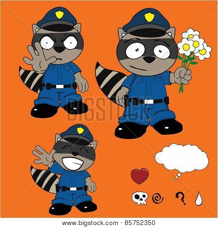 raccoon policeman flowers cartoon set