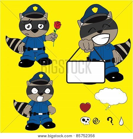 raccoon policeman rose cartoon set