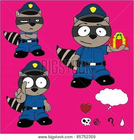 raccoon policeman gift cartoon set