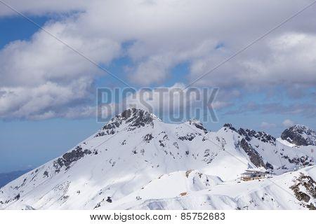Cloudy mountain landscape of Krasnaya Polyana, Sochi, Russia