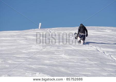 Snowboarder climbing a snowy mountain, freeride