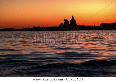 Basilica Di Santa Maria Della Salute Church In Sunset In Venice