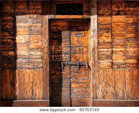 Old Wooden Closed Doors Background